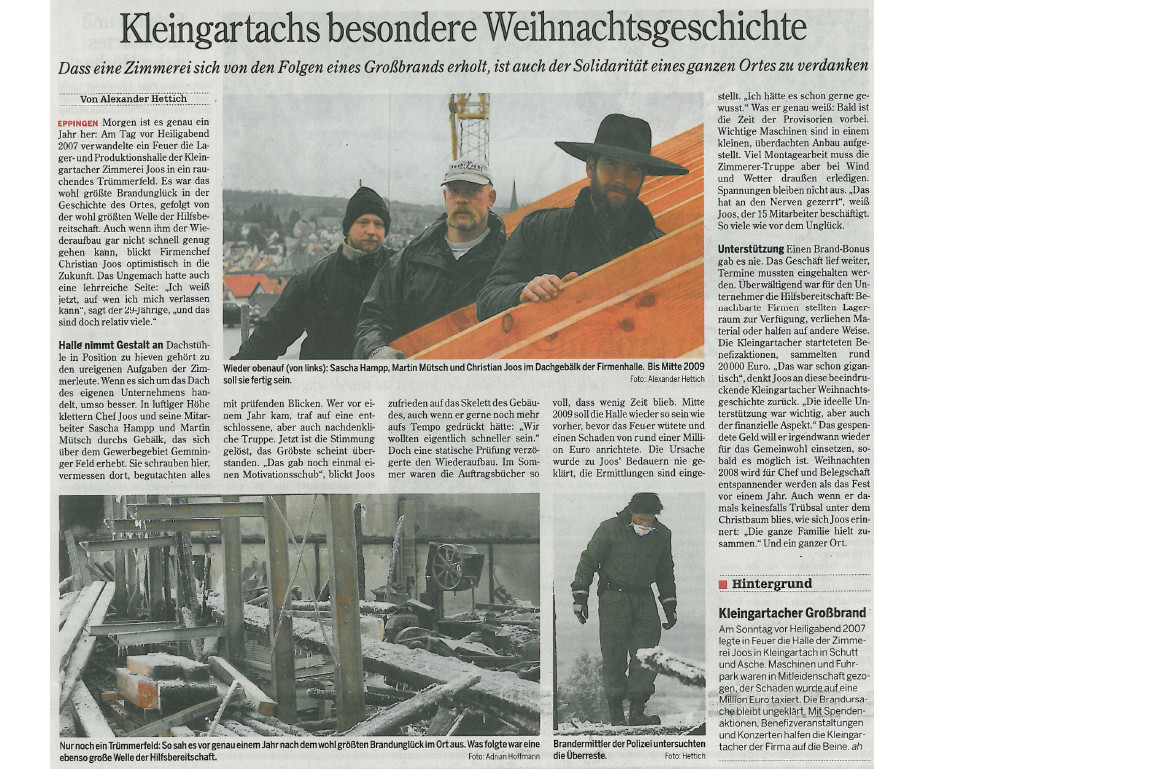 Grandi Joos – Kleingartachs besondere Weihnachtsgeschichte (Solidarität nach Brand)