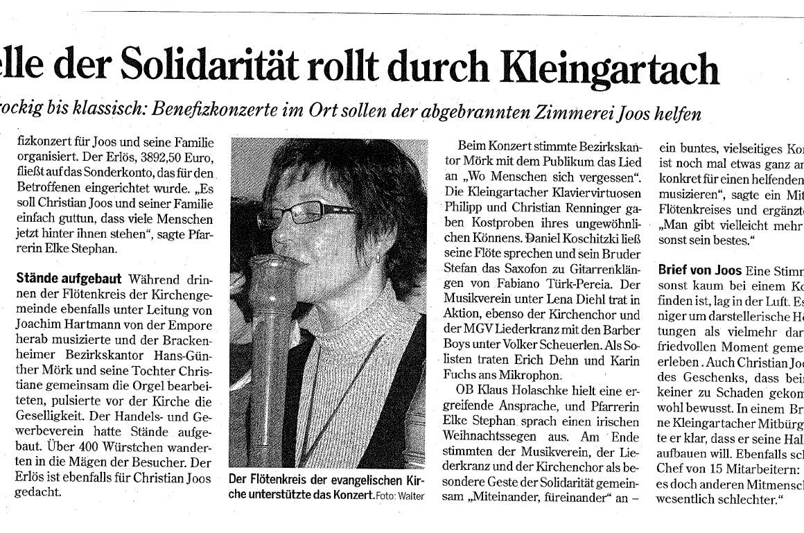 Grandi Joos – Welle der Solidarität rollt durch Kleingartach (Benefizkonzerte nach Brand)