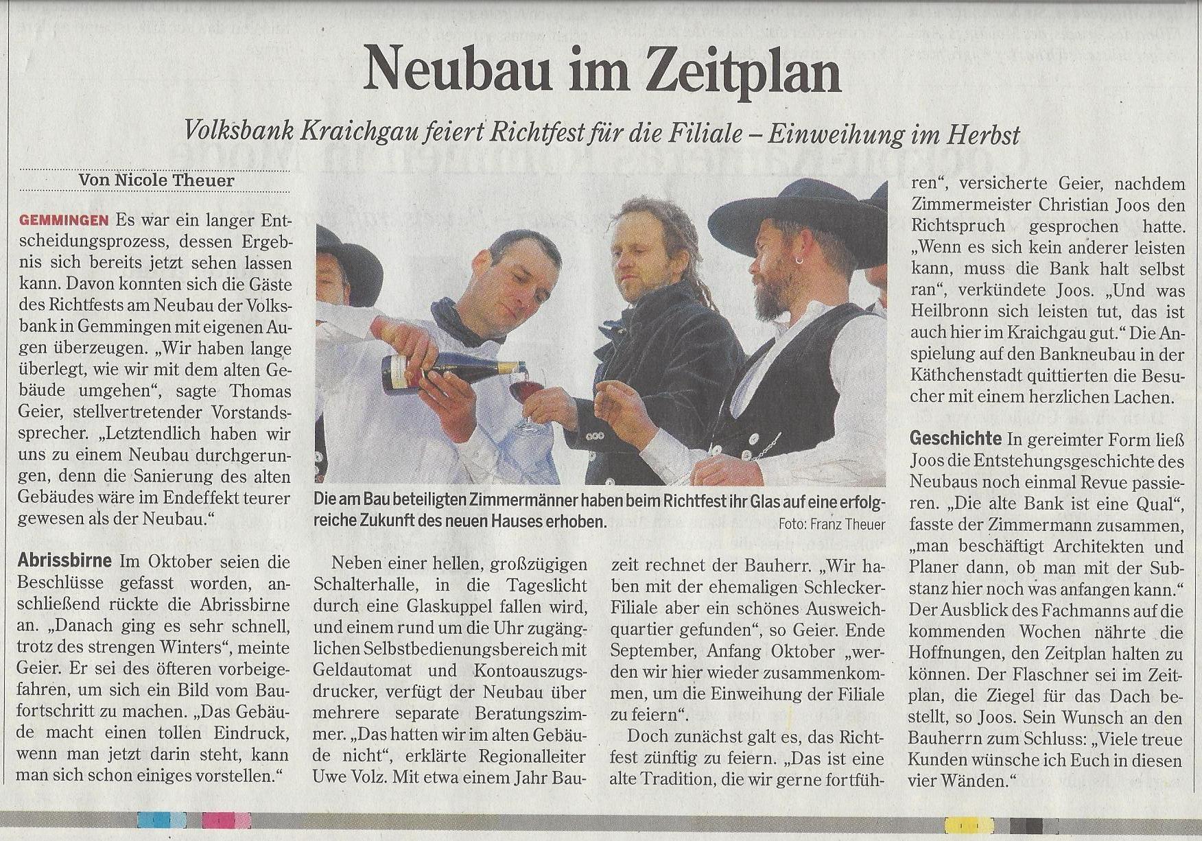 Grandi Joos – Neubau im Zeitplan (Volksbank Gemmingen)